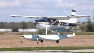 Amphibious Cessna A185E Skywagon Taxiing and Takeoff