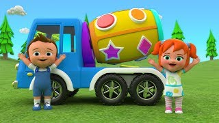 Mixer Truck Shapes Toy Set 3D Learn Colors & Shapes for Children with Little Baby Kids Educational