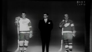 """Hockey legend Gordie Howe appears as a contestant in this segment from a 1967 episode of """"To Tell the Truth"""" with host Bud Collyer and panelists Tom Poston, Peggy Cass, Larry Blyden, and Kitty Carlisle."""