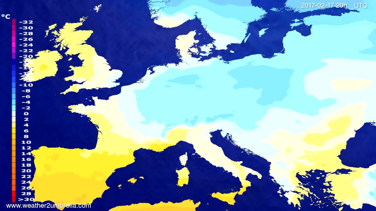 Temperature forecast Europe 2017-02-15