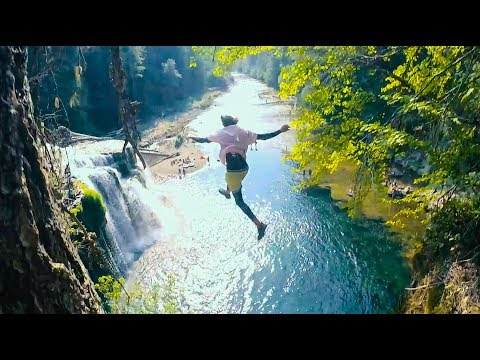 CLIFF JUMPING OFF AMERICA'S MOST BEAUTIFUL WATERFALLS pt1   4K
