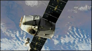 Time lapse of the NASA TV feed of the release of the SpaceX Dragon CRS-11 spacecraft from the Node 2 module (