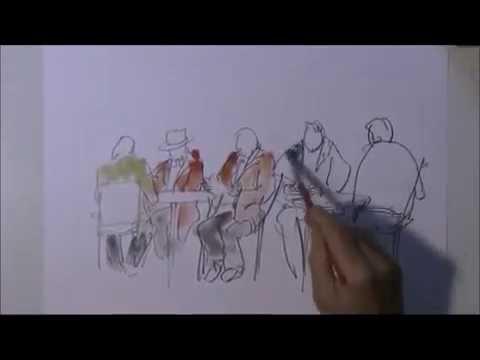 Menschen im Cafe skizzieren