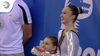 UEG Official - 7th Petrom European Championships in Artistic Gymnastics, Cluj-Napoca (ROU), April 19 - 23 2017. Belgium's Nina Derwael scores 14.633 (6.1) to...