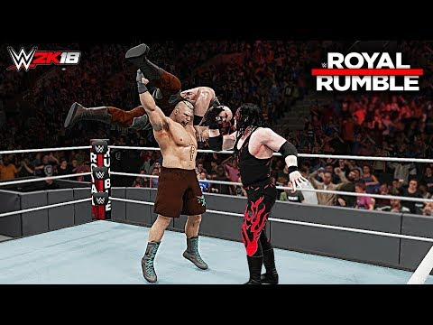 WWE 2K18 Royal Rumble 2018 - Brock Lesnar vs Braun Strowman vs Kane | Universal Championship Match!
