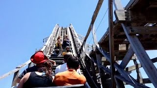 Shivering TimbersMichigan's Adventure (Muskegon, Michigan, USA)Operating since 1998Roller Coaster•Wood•Sit Down•ExtremeMake: Custom Coasters International, Inc.Track layout: Out and BackStatisticsLength:5,383 ft Height:122 ft Inversions:0 Speed:57 mph Duration:2:30 Max Vertical Angle:53.3° Elements:122 ft tall Chain Lift Hill100 ft tall Hill95 ft tall HillTrick TrackHelix DetailsCost: $4,500,000 USD Trains: 2 trains with 6 cars per train. Riders are arranged 2 across in 2 rows for a total of 24 riders per train.Restraints: Individual ratcheting lap bar, SeatbeltBuilt by: Philadelphia Toboggan Coasters, Inc.