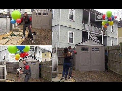 他向女友借了愛狗說是要用氣球給她製作一個驚喜,但是當女友出來發現這完全就是大悲劇時破口大罵!