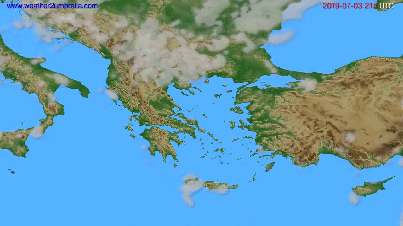 Cloud forecast Greece // modelrun: 12h UTC 2019-07-01
