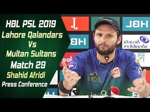 Match 29 - Post Match Press Conference: Lahore Qalandars Vs Multan Sultans | Shahid Afridi - Thời lượng: 10 phút.