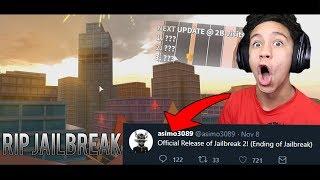 Asimo3089 RELEASES ROBLOX JAILBREAK 2?! (Ending of Roblox Jailbreak)