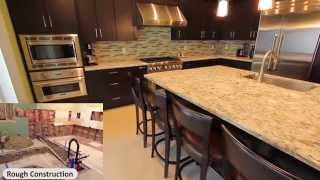 Design Build Rowland Heights Modern Black L-Shaped Kitchen with Custom Cabinets