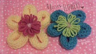 Yarn Flower - How To - Loom Knitting DIY - YouTube
