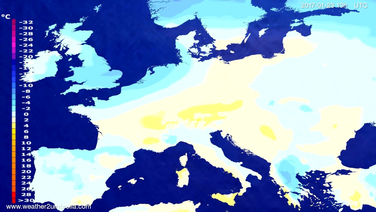 Temperature forecast Europe 2017-01-20