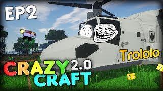 THE TROLL CHOPPER OF DOOM, CRAZY SCARE - Minecraft CrazyCraft 2.0 Ep 2 (Minecraft Mods)