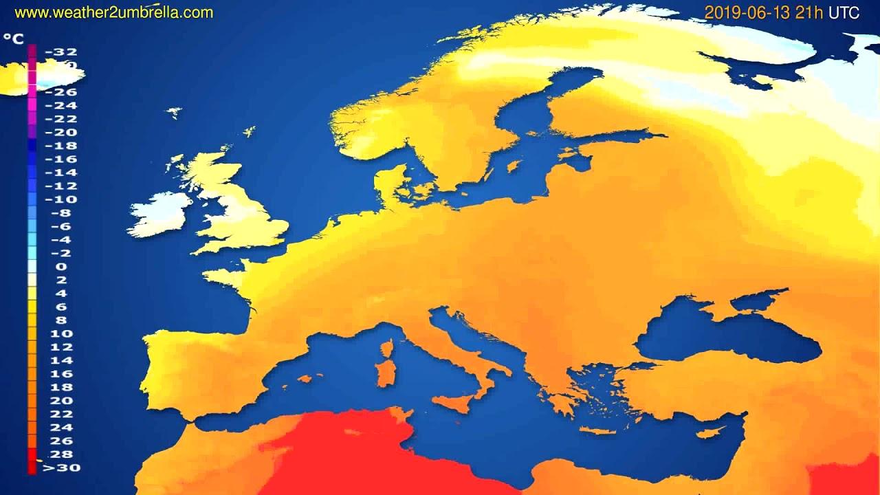 Temperature forecast Europe // modelrun: 00h UTC 2019-06-12