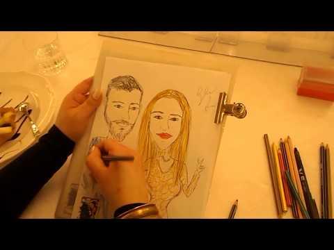 Caricature Che Passione Giuliana Arena - Caricaturista Matrimonio Mulini Reali Reggia Caserta 3