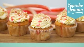Rhubard Crumble & Custard Cupcake Recipe | Cupcake Jemma by Cupcake Jemma