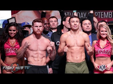 FULL & UNCUT - CANELO ALVAREZ VS. GENNADY GOLOVKIN WEIGH IN AND FACE OFF VIDEO (видео)