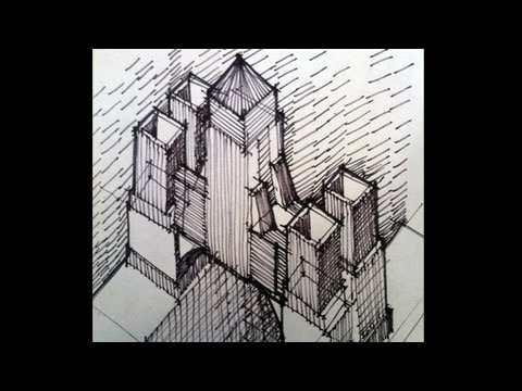 Bldg - Learn about architecture and design with Doug Patt at the Architect's Academy. http://academy.howtoarchitect.com/ A hand drawn sketch of a building Doug Patt...