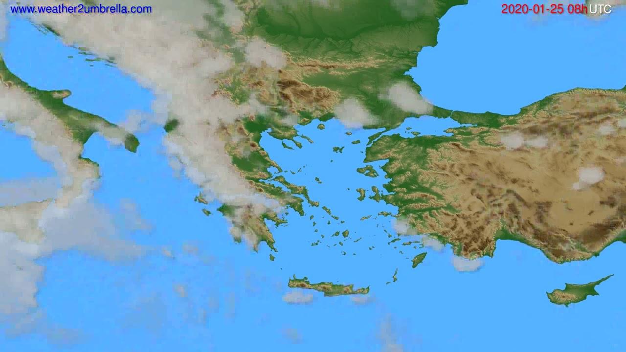 Cloud forecast Greece // modelrun: 12h UTC 2020-01-24
