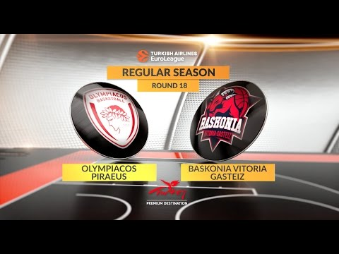 EuroLeague Highlights RS Round 18: Olympiacos Piraeus 92-62 Baskonia Vitoria Gasteiz