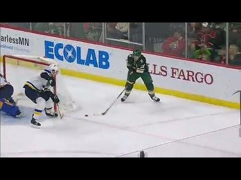 Video: Wild's Suter scores tricky goal from behind Blues' net