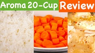 Hi Guys, today I'm reviewing the Aroma Housewares 20 Cup Cooked (10 cup uncooked) Digital Rice Cooker, Slow Cooker, Food Steamer. LINK: http://amzn.to/2rrgtzRThis unit can cook up to 10 cups of raw rice. It can also steam vegetables or meat at the same time as you cook rice.Aroma sent me this sample, so I can tell you what I think of it.  This control panel shows the functions you can use. There's white rice, with the brown rice function (you can cook quinoa and other grains that need a longer time to cook), steam function, slow cook ( set from 2 to 10 hours to make stews), don't use the included spatula for slow cooking, it can't withstand high heat. Flash rice cooks the rice about 10 minutes faster than the white rice function, delay timer (pour water and rice in the pot and use the + - to set the time to start cooking) and keep warm. When the unit finishes cooking rice, it automatically switches to keep warm. Keep warm function should not be used for longer than 12 hours. And here is the on/off button.You can cook rice and steam food at the same time. Put the rice and water in, then the tray with food you want to steam on top. Set to white or brown rice and cook. When the vegetables are done, take them out and continue to cook the rice until the unit beeps. Don't cook more than 8 cups of raw rice if you plan to steam at the same time. You can steam at any point during the rice cooking period. It's best to steam towards the end of the cycle so your vegetables and rice will be done at the same time and both will be hot. So you saw how the Aroma performed on cooking rice, steaming vegetables and chicken on the slow cook function. You can make rice, meat and vegetables at one time which is very convenient. Since this unit makes up to 20 cups of rice and takes up some space, it's best suited for larger families.  If you want to try out this Aroma, I've put a link in the description below. Share this video if you found it useful. Subscribe for more reviews of products you use every day and I'll see you next time. Thanks for watching :)
