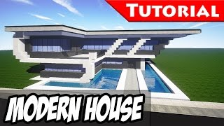 Minecraft: Easy Modern House / Mansion Tutorial #8 + DOWNLOAD -  [ How to build ]