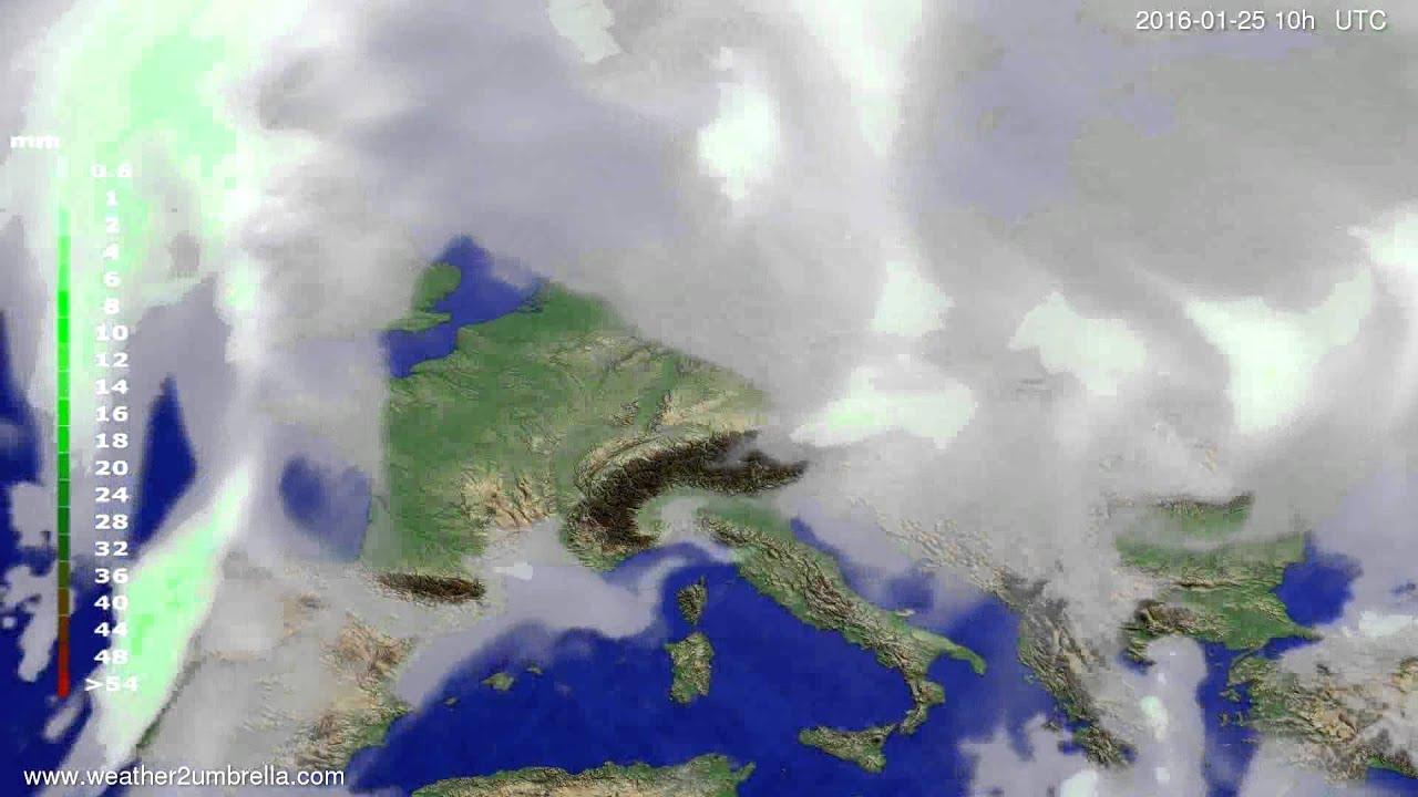 Precipitation forecast Europe 2016-01-23