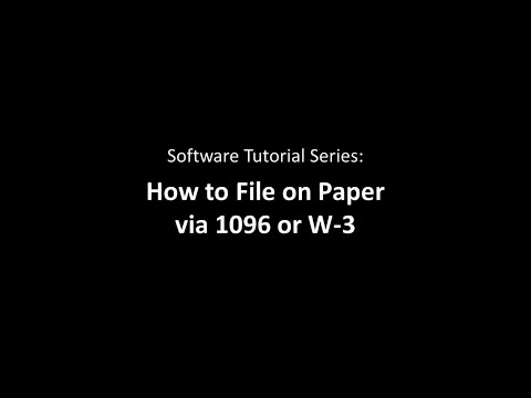 Paper Filing Via 1096 or W-3 with 1099 Pro Tax Software