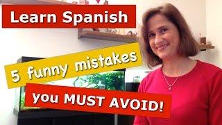 """5 Spanish funny mistakes you must avoid!¿Eres estudiante de español?Este vídeo será muy útil y divertido.  Cuando hablamos un idioma extranjero siempre cometemos errores. En normal.  Pero algunos de ellos pueden crear situaciones muy divertidas o incómodas.En este vídeo hablo de 5 situaciones REALES y divertidas que suceden durante mis clases de español ;-)Página Web: http://www.practiquemos.com""""Practiquemos más"""": http://www.practiquemos.com/espanolfacebook → http://www.facebook.com/PRACTIQUEMOSGoogle+  → http://google.com/+PractiquemosEspanol"""