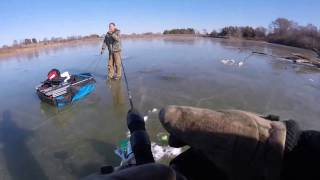 Ice fishing in Iowa. This is my first time out this winter. The day starts off bad because I forget my winter coat and it is a cold day. Then my old but trus...
