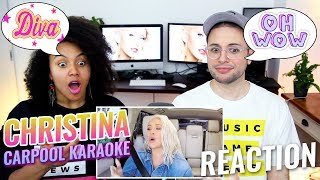 Video Christina Aguilera Carpool Karaoke | The Late Late Show with James Corden | REACTION MP3, 3GP, MP4, WEBM, AVI, FLV Agustus 2018