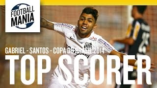 Gabriel from Santos was Copa do Brasil 2014 Top Scorer with 6 goals, watch 4 of them: 1st Round - 2nd Leg Santos 3-0 Mixto 69'...