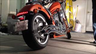 2011 Honda Fury Motorcycle before and after Cobra swept pipes install.
