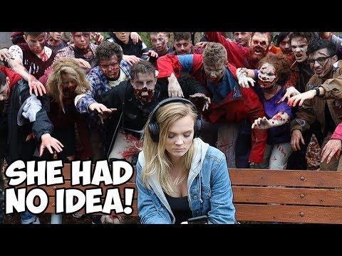 Surprising Strangers With 100 Zombies - Experiment