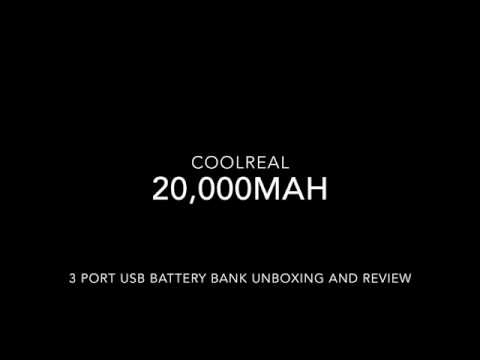 CoolReal 20,000mAh battery bank with 3 USB ports unboxing and review