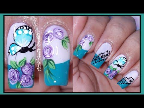 Decoración de uñas turqueza/Uñas decoradas con rosas y mariposa/tutorial de decoración de uñas