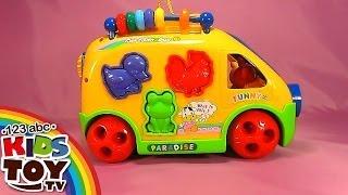 Yellow bus. Cheerful videos for development of children. Sorter. Learn animals. Teach figures.