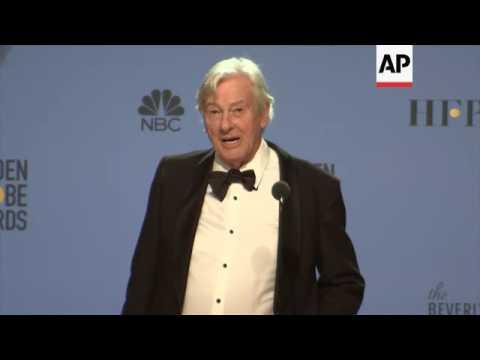 Filmmaker Paul Verhoeven reacts backstage to 'Elle' winning best foreign film