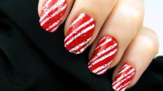 Easy Candy Cane Nails
