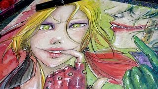 Harley Quinn x Joker - Time Lapse Watercolor Painting (Suicide Squad) - How to Paint