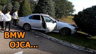 Kasowanie BMW ojca podczas próby driftowania na placu