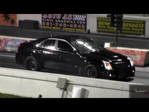 800 HP CTS-V vs Nissan GT-R Modded - 1/4 mile Drag Race - Road Test TV ® видео