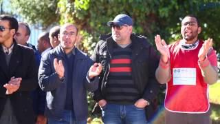 احتجاج التنسيق النقابي لموظفي وزارة التربية الوطنية حاملي الشواهد أمام مفر الوزارة