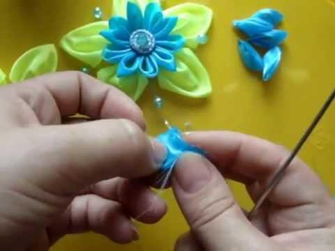 Цветы из ленточек своими руками для начинающих пошагово фото