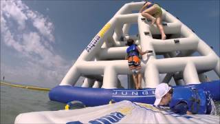 SUBSCRIBE:  We had a great time at the TradeWinds Island Resort playing at the Splash Island Water Park located in St Pete Beach, FL. The Water Park is actually floating in the ocean.  Check out the obstacles, slides and things to climb on.  It was a blast.