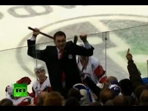 KHL fight video: Angry Vityaz coach Nazarov attacks fans with stick      - YouTube