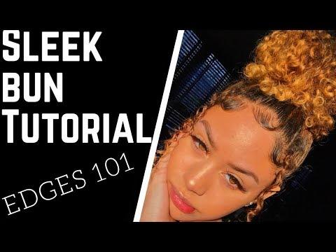 How I get my Sleek Bun & Edges 101 Tutorial | AmeliaMonét (видео)