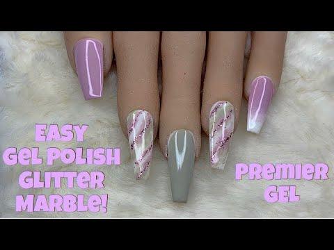 Gel nails - Easy Gel Polish Glitter Marble!  Premier Gel  Nail Sugar